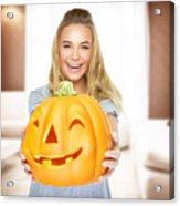 Happy Woman On Halloween Party Acrylic Print