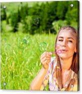 Happy Woman Outdoors Acrylic Print