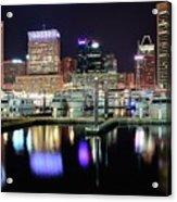 Harbor Nights In Baltimore Acrylic Print
