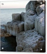 Harbor Rocks In Ice Acrylic Print by Kathy DesJardins
