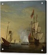 Harbor Scene An English Ship With Sails Loosened Firing A Gun Acrylic Print