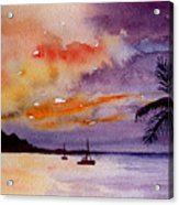 Harbor Sunset Kauai Hawaii Acrylic Print