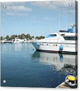 Harbor With Yacht And Boats Acrylic Print