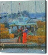 Hard Work At Lobster Dock Boothbay Harbor Maine Acrylic Print