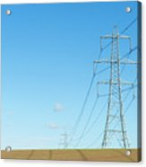 Hardly A Cloud In The Sky As Pylons Distribute Energy Through The Region. Acrylic Print