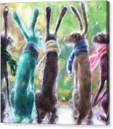Hares With Scarves Acrylic Print