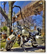 Harley Davidson And Brooklyn Bridge Acrylic Print