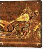 Harley Davidson Classic Bike, Original Golden Art Print For Man Cave Acrylic Print