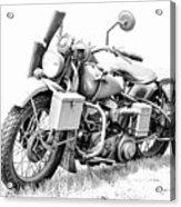 Harley Davidson Military Motorcycle Bw Acrylic Print