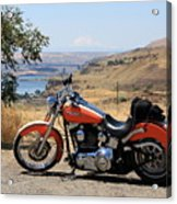 Harley With Columbia River And Mt Hood Acrylic Print