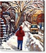 Winter Walk After The Snowfall Best Montreal Street Scenes Paintings Canadian Artist Paysage Quebec Acrylic Print