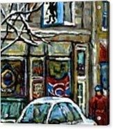 Achetez Les Meilleurs Scenes De Rue Montreal St Henri Cafe Original Montreal Street Scene Paintings Acrylic Print