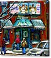 Achetez Les Meilleurs Scenes De Rue Montreal Boulangerie St Viateur Original Montreal Street Scenes  Acrylic Print