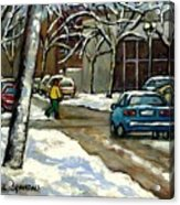 Canadian Artist Winter Scenes Original Paintings Quebec Streets Achetez  Montreal Art Online Acrylic Print