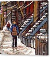 Canadian Art Winter Streets Original Paintings Verdun Montreal Quebec Scenes Achetez Les Meilleurs Acrylic Print