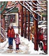 Canadian Winter Scene Paintings Original Art Verdun Montreal Achetez Scenes De Rue Quebec C Spandau  Acrylic Print