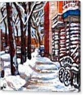 Canadian Winter Scene Paintings Original Art Verdun Montreal Achetez  Paysages De Quebec C Spandau Acrylic Print