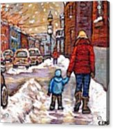 Original Montreal Street Scene Paintings For Sale Winter Walk After The Snowfall Best Canadian Art Acrylic Print