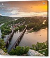 Harpers Ferry National Historical Park Maryland Heights Sunset Acrylic Print