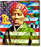 Harriet Tubman Martin Luther King Jr Malcolm X American Flag 20160501 Text Acrylic Print