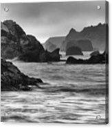 Harris Beach Oregon Monochrome Acrylic Print