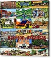 Harrison Arkansas Collage Acrylic Print by Kathy Tarochione