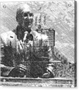 Harry Caray Statue With Historic Wrigley Scoreboard Bw Acrylic Print