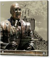 Harry Caray Statue With Historic Wrigley Scoreboard In Heirloom Acrylic Print