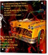 Harry Chapin Taxi Song Poster With Lyrics Acrylic Print