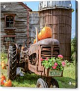 Harvest Time Vintage Farm With Pumpkins Acrylic Print