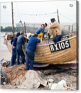 Hastings England Fishermen On Boat Acrylic Print