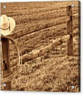 Hat And Lasso On Fence Acrylic Print