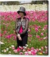 Hatted Lady In A Field Acrylic Print