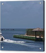 Hatteras Dock And Boat Acrylic Print