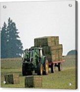 Hauling Hay At Dusk Acrylic Print