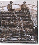 Hauling Logs Historical Vignette Acrylic Print