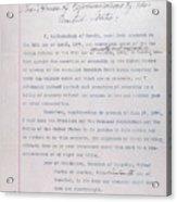 Hawaii. Letter From Liliuokalani, Queen Acrylic Print