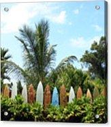 Hawaii Surfboard Fence Acrylic Print by Michael Ledray