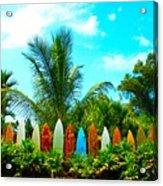 Hawaii Surfboard Fence Photograph  Acrylic Print by Michael Ledray