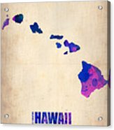 Hawaii Watercolor Map Acrylic Print by Naxart Studio