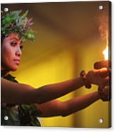Hawaiian Dancer And Firepots Acrylic Print