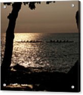 Hawaiian Dugout Canoe Race At Sunset Acrylic Print