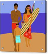 Hawaiian Family Beach Scene Acrylic Print