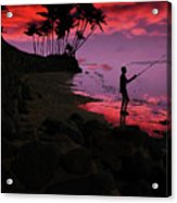 Hawaiian Fishing On Halama Beach At Sunset Acrylic Print