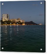 Hawaiian Lights - Waikiki Beach And Diamond Head Volcano Crater Acrylic Print