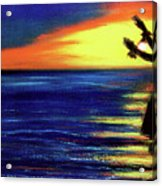 Hawaiian Sunset With Hula Dance  #183, Acrylic Print