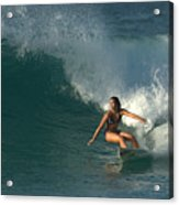 Hawaiian Surfer Girl Bottom Turn Acrylic Print