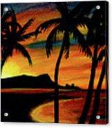 Hawaiian Waikiki Sunrise Over Diamond Head  #266 Acrylic Print
