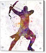 Hawk Eye 02 In Watercolor Acrylic Print