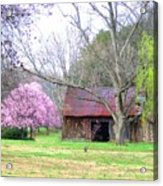 Hay Barn And A Touch Of Pink Acrylic Print
